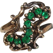 SALE Stunning Unusual Emerald & Gold Washed Sterling Ring - Size 6