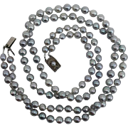 SALE EXQUISITE Japanese Salt Water SILVERY BLUE Baroque Cultured Pearls, Sterling : 20.5""