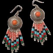"""SALE Vintage 3"""" Zuni Coral Gem Native American Sterling Multi Stone Earrings"""