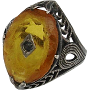 SALE Very Unusual Amber & Black Diamond Art Deco Sterling Ring - Antique, Size 6