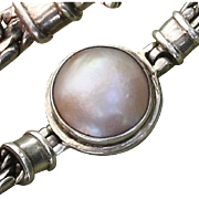 """SALE Beautiful Cultured Pink Mabe Pearl Sterling Silver 7.65"""" Bracelet"""
