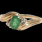 SALE Beautiful Emerald & Diamond Vintage Artist Signed Ring - 10K Yellow Gold, Size 7.25