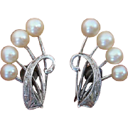 SALE Mikimoto Akoya Cultured Pearls Sterling Earrings - Converted to Clip Ons !