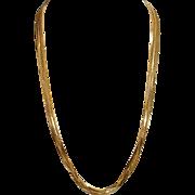"Sleek & Stylish ! Long 20"" Italian Seven Chains Gold Over Sterling Vintage Vermeil Neckla"