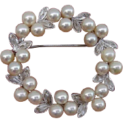 SALE Beautiful Japanese Akoya Cultured Pearls & Sterling Vintage Brooch