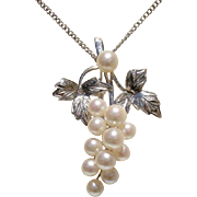 SALE Beautiful Japanese Grapes Akoya Cultured Pearls & Sterling Vintage Brooch / Pendant