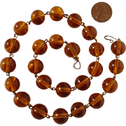 "SALE Vintage 10K Honey Amber 18"" Pools of Light Golden Glass Beads Necklace"