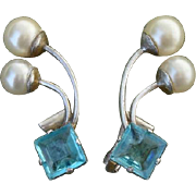 SALE Gorgeous Vintage Blue Topaz Glass & Faux Pearl Sterling Earrings - Clip Ons