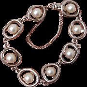 SALE Fabulous Vintage Modernist Akoya Cultured Pearl & Sterling Silver Bracelet