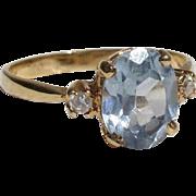 SALE Lovely Blue Topaz & Iolite Vintage Vermeil Ring - Size 6.5
