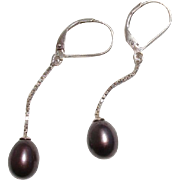 SALE Lovely Aubergine Tahitian Cultured Pearls Lever Back Sterling Vintage Earrings
