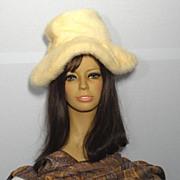 SALE Vintaage 1970s Leslie James Blonde Mink Wide Brim Hat