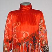 SALE Vintage 1970s Hanae Mori Exquisite Red Silk  Evening Dress