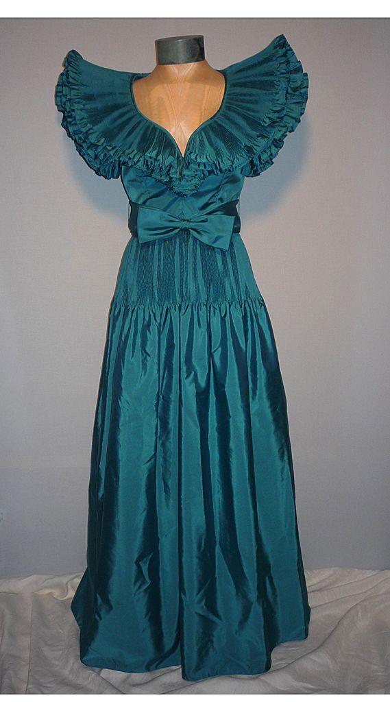 Vintage 1980s Victor Costa Teal Taffeta Evening Dress