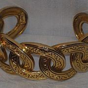 SOLD Vintage 1980s Yves Saint Laurent Heavy Cable Design Cuff Bracelet
