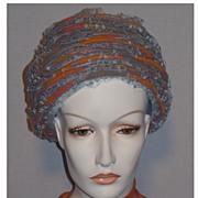 SALE Vintage 1960s Blue Open Weave Tulle Beehive Hat