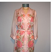 SALE Vintage 1970s Shaheen Pink Floral Dress