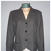 SALE Vintage 1980s Valentino Classic Style Short Gray Wool Jacket