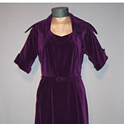 Vintage 1950s Michael Kent Printzess Fashion Purple Velvet Cocktail Dress