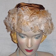 SALE Vintage 1950s  Saks Fifth Avenue Millinery Salon Ostrich Feather Hat
