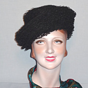 SALE Vintage Late 1950s   Early 1960s  Schiaparelli Black Tulle Hat