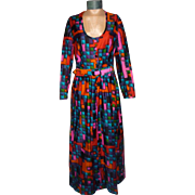 Vintage 1960s  Dynasty Jewel Tones Evening Dress