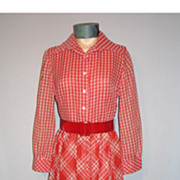 Vintage 1960s Red and White Two Patterned Check Evening Dress
