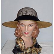 Vintage 1980s  Sandra, New York Wide Brim Metallic Gold Straw Hat