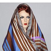 SOLD Vintage 1970s  Schiaparelli  Striped Silk Scarf
