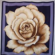 SALE Vintage 1980s Oscar de la Renta  Rose Silk Scarf