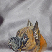 SALE Vintage Boxer Dog Hand Painted Silk Scarf