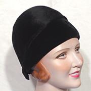 SALE Vintage 1960s  Archie Eason Fur Felt and Velvet Helmet Cloche Style Hat