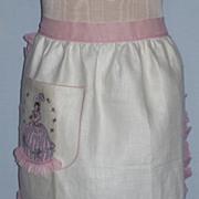 Vintage 1960s Southern Belle Linen Apron