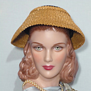 SALE Vintaage 1950s  Valerie Modes Straw and Black Velvet New Look Hat
