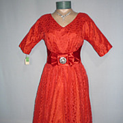 SALE Vintage 1950s Red Chantilly Lace Party Dress