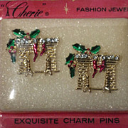 SALE Vintage 1960s Christmas Hearth Charm Pins Cherie Fashion Jewelry  Deadstock