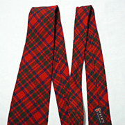 Vintage 1940s Cape Cod Weavers Red Wool Tartan Plaid Tie