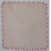 Vintage Hanky Pink Linen  With Tatted Lace Edging