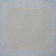 Vintage White Linen Wedding Hanky With Handmade Lace Edge