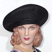 Vintage 1950s Evelyn Varon Black Straw Mushroom Cloche Hat
