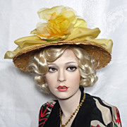 SALE Vintage Late 1950s  Early 1960s Evelyn Varon Natural Straw hat With Yellow Silk Organza .
