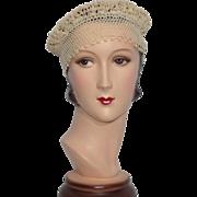SALE Vintage 1920s Crocheted Boudoir Cap