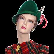 Vintage 1960s Genevieve Original Green Wool Felt Alpine Style Hat