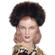 SALE Vintage 1940s Fox Fur Trimmed Black Wool Felt Hat