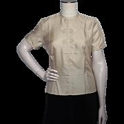 Vintage 1950s Sidney Heller Created Silk Blouse Oriental Style Dead Stock