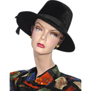 Vintage 1960s Jacki Black Fur Felt Wide Brim Hat
