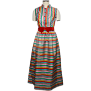 Vintage 1960s Striped Taffeta Evening Dress Multicolored