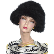 SALE Vintage 1960s Frank Olive  Black Marabou Feather Hat For Neiman Marcus
