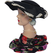 Vintage 1950s Black Platter Style Hat With Black and White Woven Trim