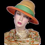 Vintage 1960s Mr Rickie Original Orange Woven Straw Hat